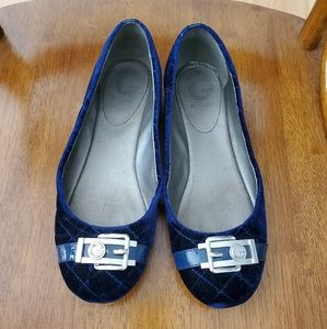 Guess | Blue Velvet Flats with Silver Buckle